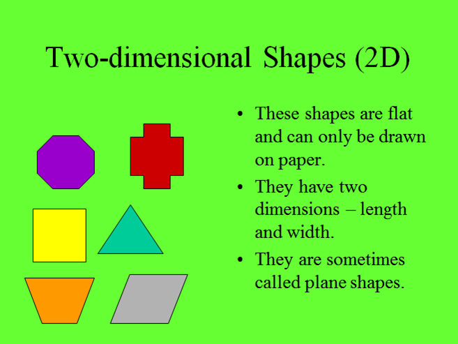 Properties of 2D and 3D Shapes