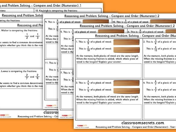 Year 6 Fractions Compare and Order Numerators WRM Reasoning and Problem Solving Pack