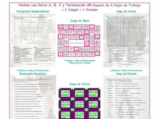 Verbs Start A, B, C, D End AR Spanish 4 Worksheet-2 Game-1 Exam Bundle
