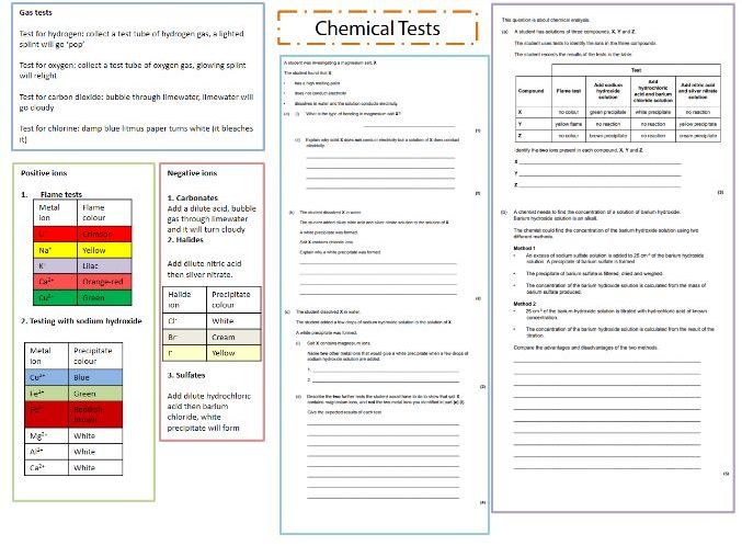 AQA Chemistry - Chemical Analysis tests sheet