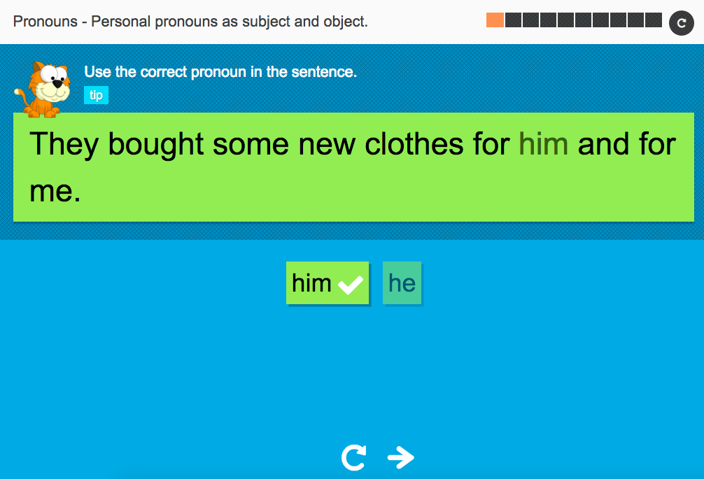 Personal pronouns as subject and object - Interactive Activity - KS3 Spag
