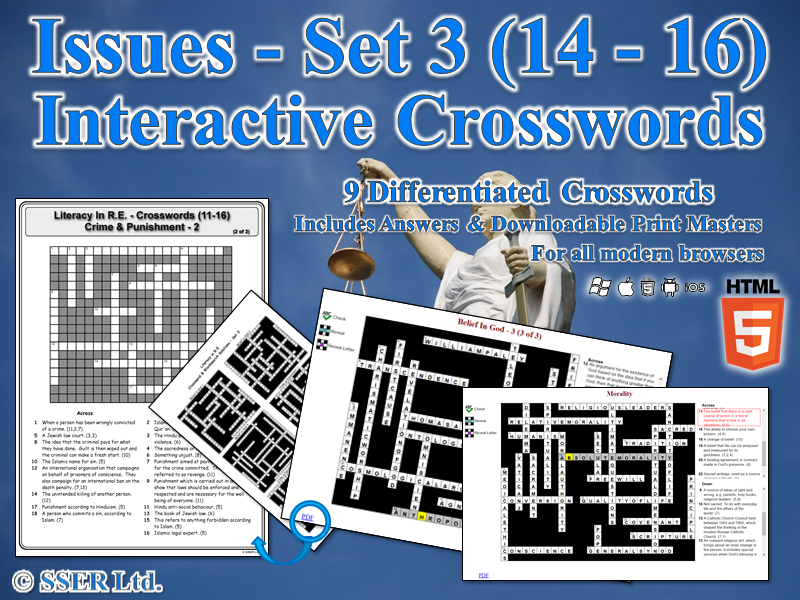 Literacy In Moral & Ethical Issues (Set 3) – Interactive Crosswords (HTML5)