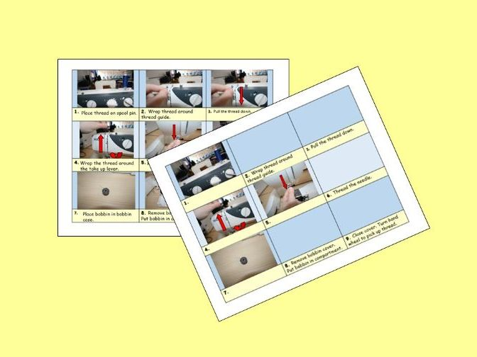 Threading Sewing Machine Instuctions Card Sort