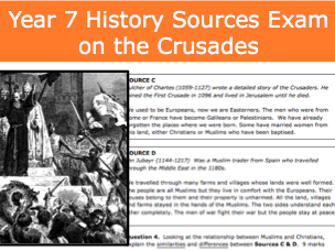 Year 7 History Crusades Sources Exam. Mark scheme and Student Help Sheets. KS3 History Assessment