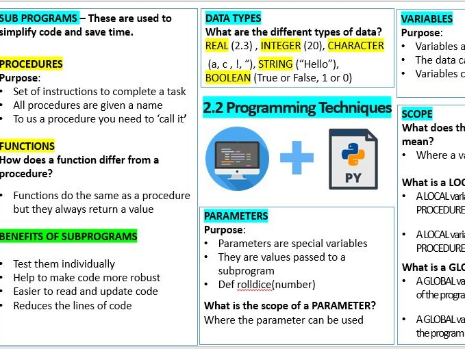 GCSE 2.2 (OCR Computer Science)  Programming Techniques - Procedures, Functions and Scope Revision