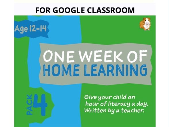 Digital Distance Learning Resource For Google Classroom: Pack 4 (12-14 years)
