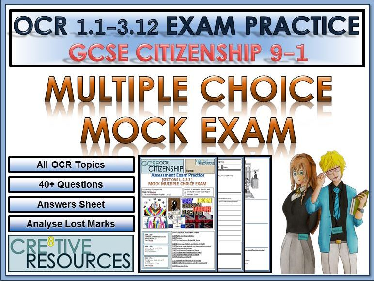9-1 Citizenship OCR GCSE Exam Assessment: Multiple Choice Questions Mock Exam