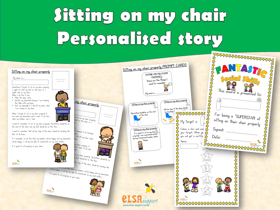ELSA SUPPORT - Personalised story - Sitting on my chair properly