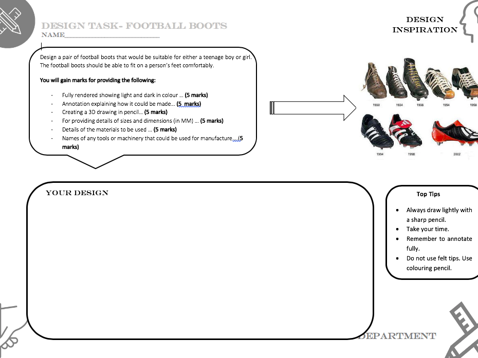 Football boot design task worksheet - Suitable for covering Technology and Design lesson