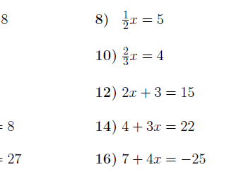 8 Worksheets on linear equations (with solutions)