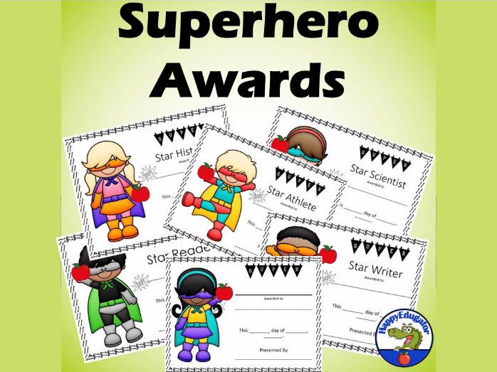 Superhero Award Certificates - End of the Year Awards