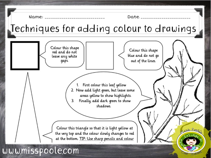 KS2 Techniques for Adding Colour to Drawings