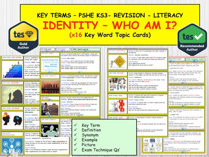 PSHE / Citizenship   - Identity , Who am I? Self Esteem   x16 Key term Words  Topic Cards. Literacy.