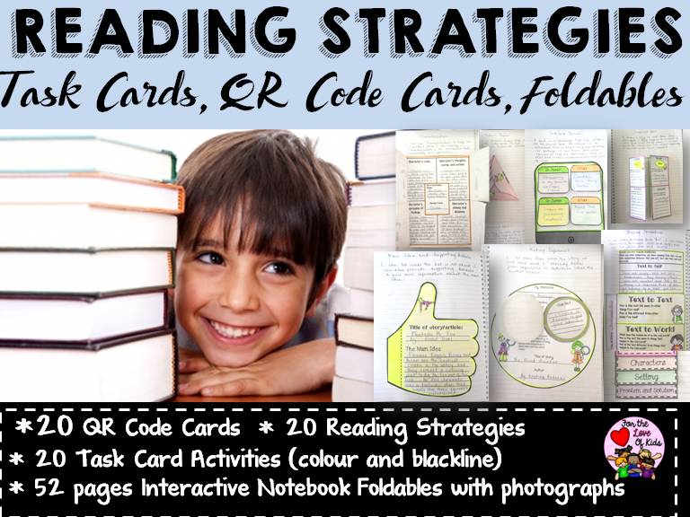 READING STRATEGIES BUNDLE {FOLDABLES, POST-READING CARDS, QR CODES}
