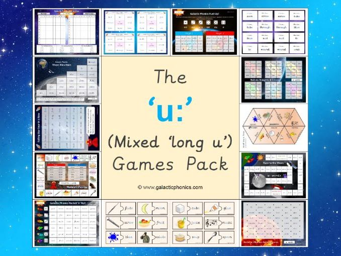 The Mixed 'u:' (long u) Phonics Games Pack