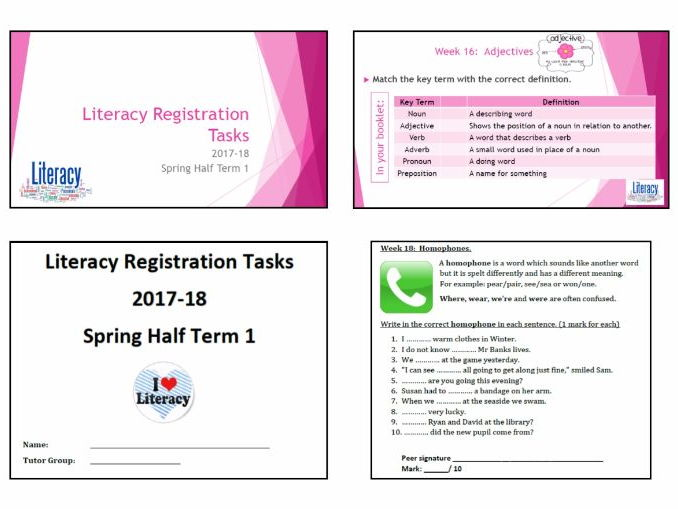 Literacy Activities - Teacher presentation and accompanying student booklet (HT3 wks 16 to 21)
