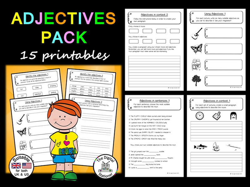 Adjectives (Parts of Speech)(suitable UK/US) - 15 printables