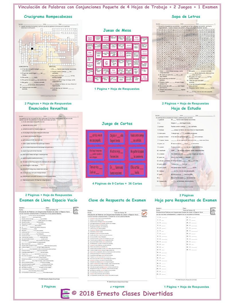 Linking Words and Connectors Spanish 4 Worksheet-2 Game-1 Exam Bundle