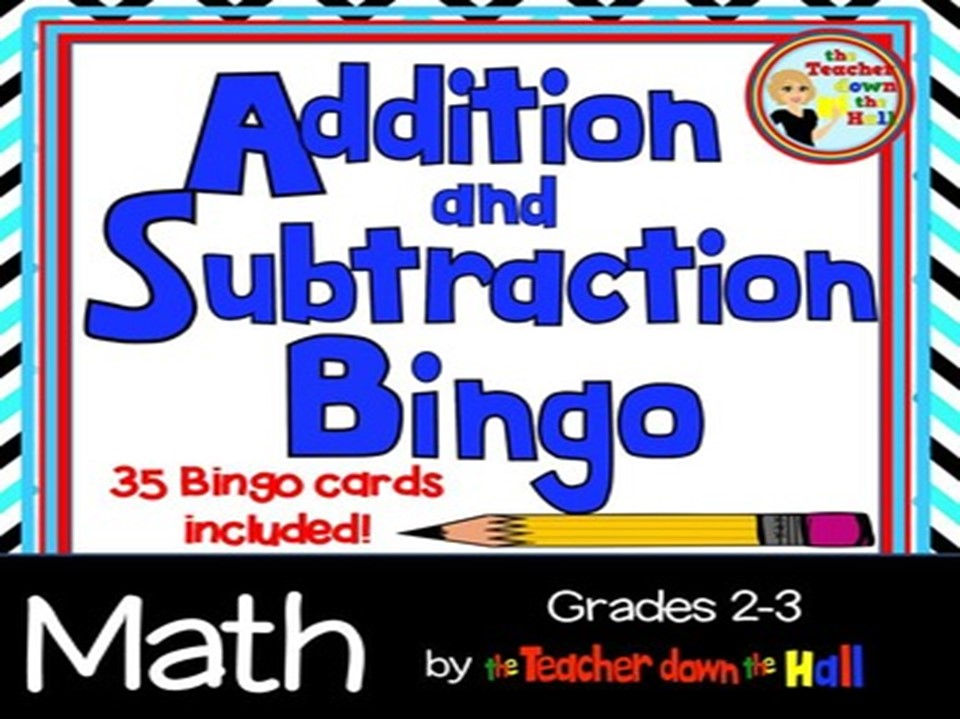 Addition & Subtraction Bingo w/ 35 Bingo Cards Grades 2-3