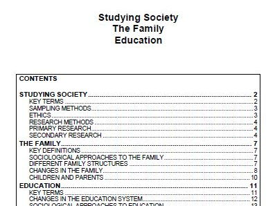 GCSE SOCIOLOGY REVISION