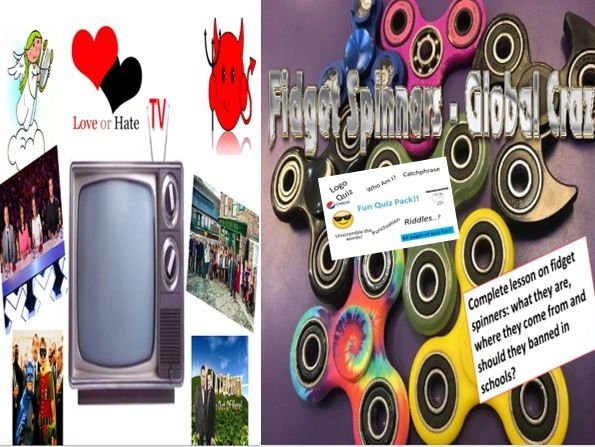 Fidget Spinners + TV Love and Hate + Fun Quiz Pack