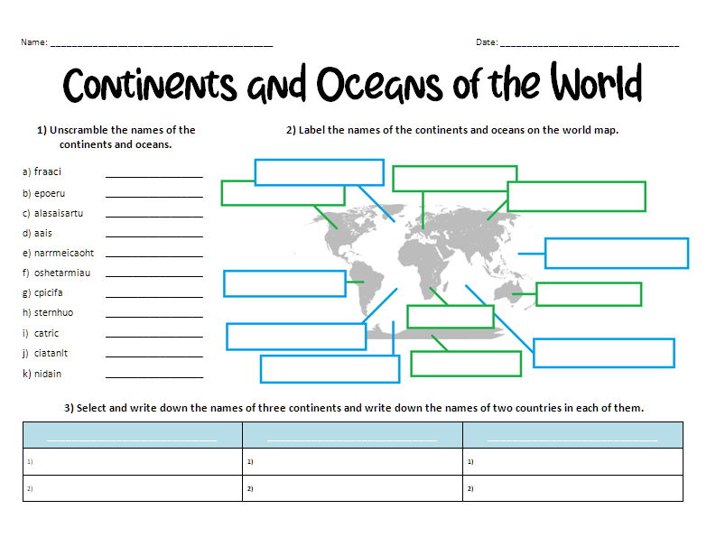 Continents and Oceans of the World Puzzle-sheet