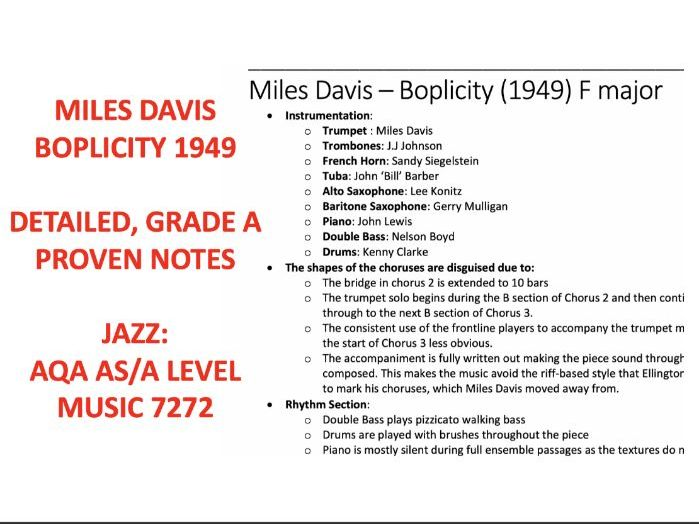 Miles Davis - Boplicity AS / A LEVEL MUSIC AQA NOTES