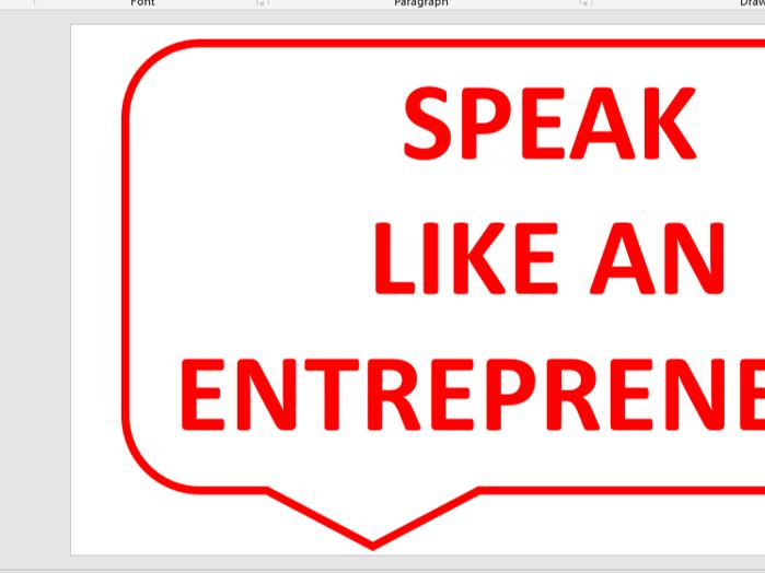 Business studies wall display speak like an entrepreneur