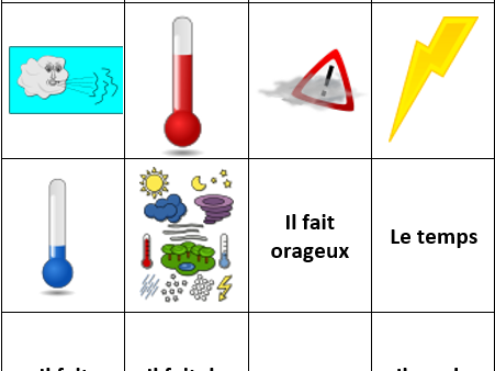French weather vocab pairs cards