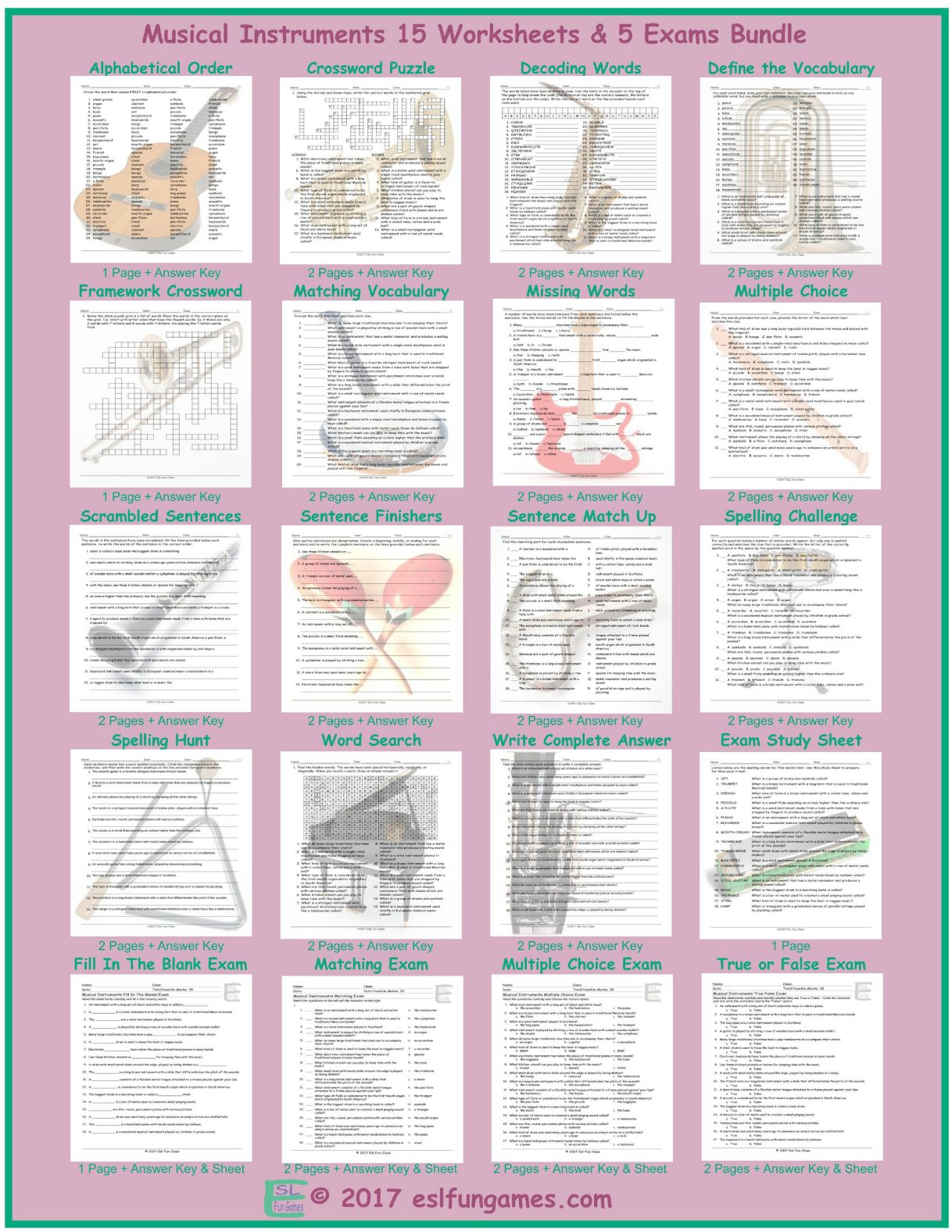 Workbooks understatement worksheets : Musical Instruments Sentence Match Up Worksheet by eslfungames ...