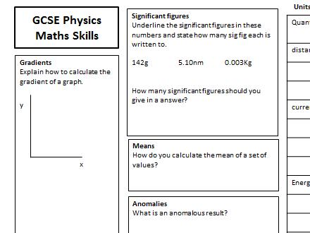 GCSE Physics Maths Skills Placemat