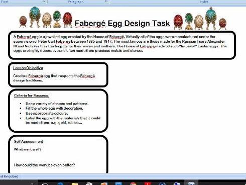 Faberge Egg Design Task - Easter Activity