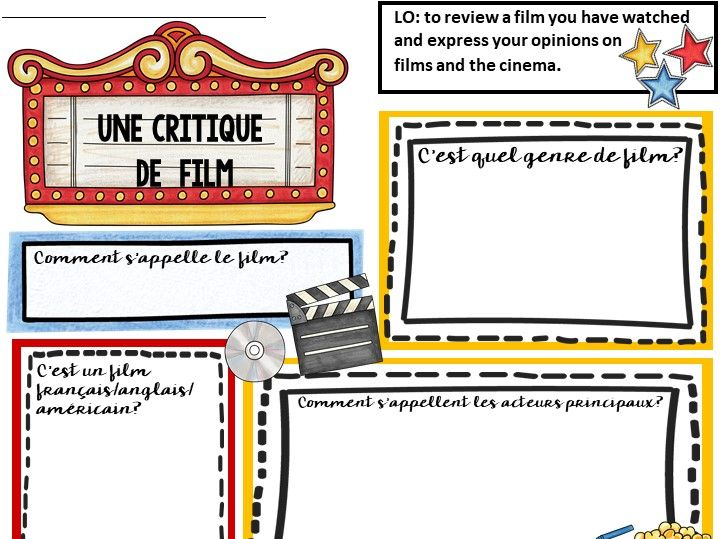 French Film Review Sheet