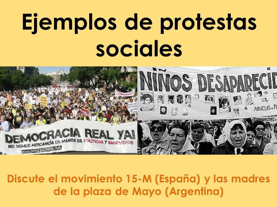 AQA New A Level Spanish Ejemplos de protestas sociales
