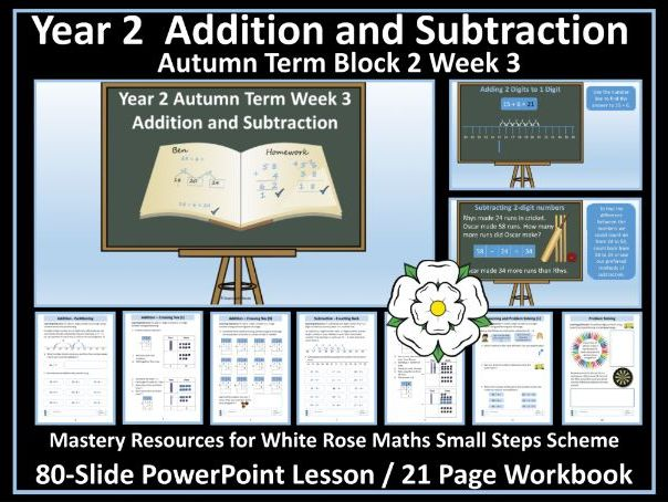 Addition and Subtraction: Year 2 -PowerPoint Lesson and Workbook 3- Block 2 - White Rose Small Steps