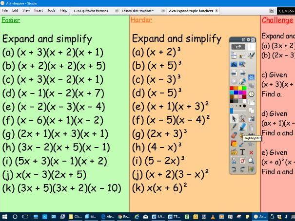 Lesson slides for the teaching of expanding triple brackets