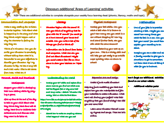 Home Learning EYFS Dinosaurs