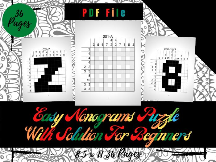 Easy 36 Nonograms Japanese Puzzles Puzzle With Solution, Griddlers Logic Printable Puzzles