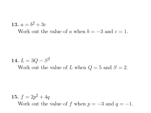 Substitution into formulae worksheet (with solutions)