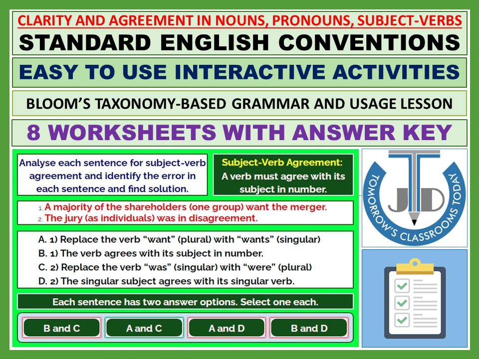 CLARITY AND AGREEMENT IN NOUNS, PRONOUNS, SUBJECT-VERBS: WORKSHEETS