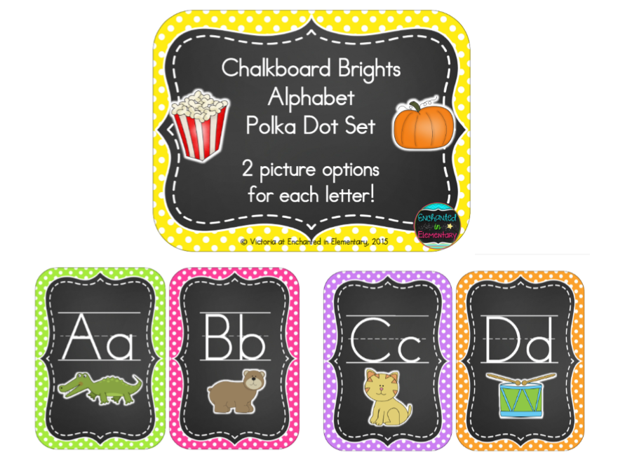 Chalkboard Brights Alphabet Cards: Polka Dot Set
