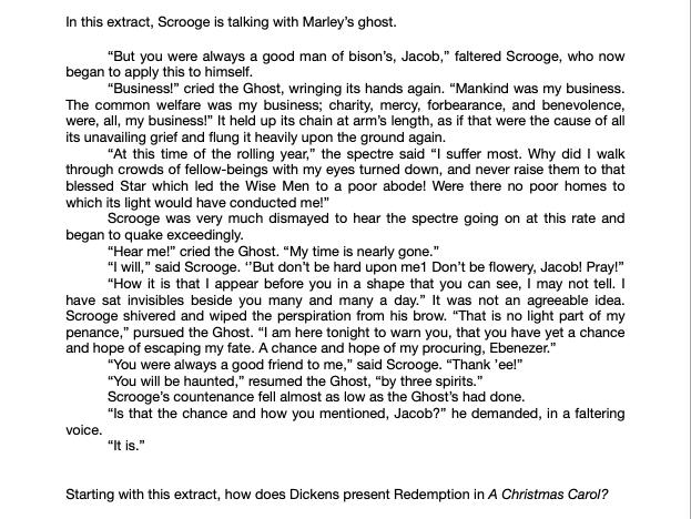 GRADE 9 A CHRISTMAS CAROL REDEMPTION ESSAY