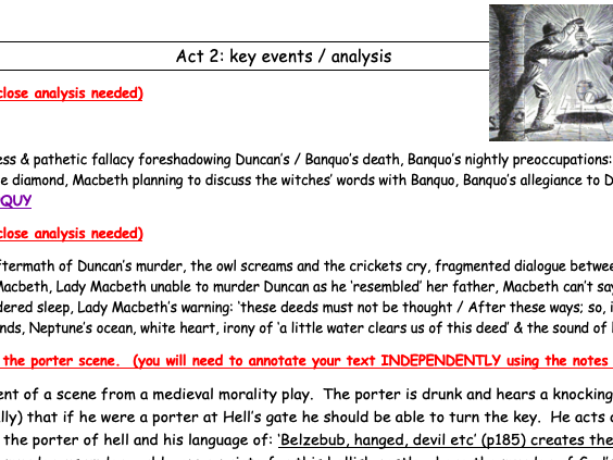 Summary - act 2 Macbeth Teacher notes / analysis / revision notes