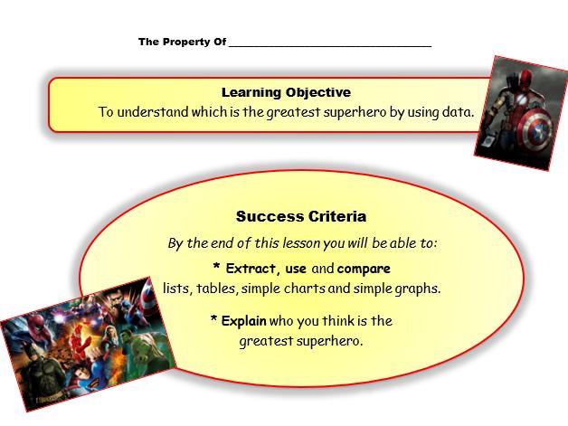 Maths Functional Skills/KS3/4 - Handling Data.  Superhero Lesson.