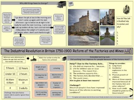 The Industrial Revolution: Reform of working conditions - the Factory and the Mines Acts