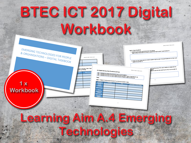 BTEC ICT (2017) UNIT 1 Digital Workbook Learning Aim A - A4 Emerging Technologies
