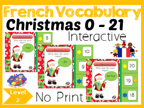 French Christmas Number Game - Number words to Numbers 1 - 21 - No Print