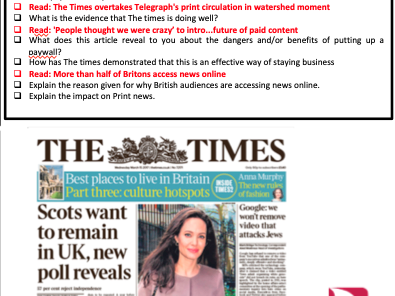 AQA THE TIMES NEWSPAPER GCSE MEDIA STUDIES SOURCE-BASED REVISION