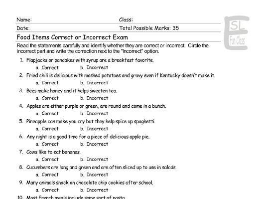 Food Items Correct-Incorrect Exam