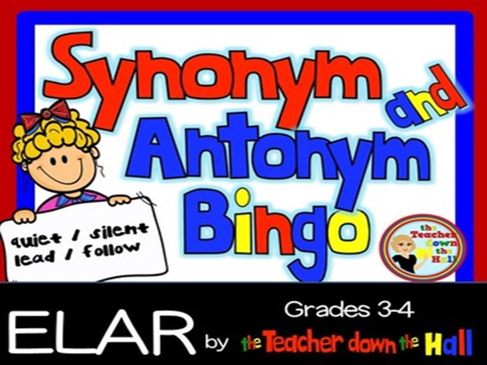 Synonym / Antonym Bingo w/ 35 Bingo Cards Grades 3-4